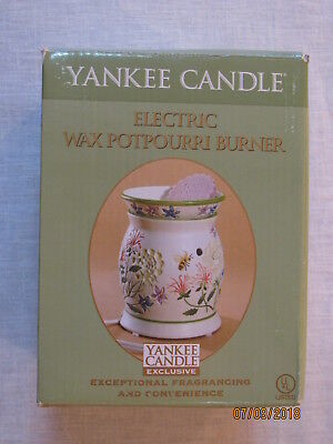 Yankee Candle Electric Wax Potpourri Burner, Queen Anne's Lace, Orig Box, Tested Wax Potpourri Burner