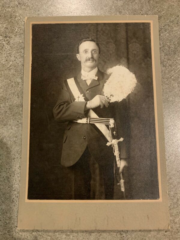 Antique 1905 Cabinet Card Photograph Knights of Columbus