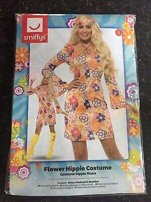 Ladies Flower Hippie Costume Adults 60s 70s  Fancy Dress Outfit, Size - Flower Fancy Dress Kostüm