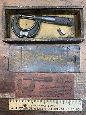 Vintage 1911 Lufkin Micrometer In Original Wooden Box B853 Great Item