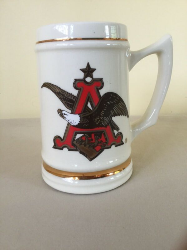 Anheuser-Busch A & Eagle Logo Stein With Gold Leaf Rings