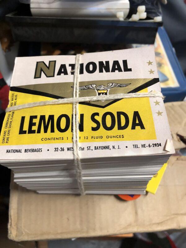 vtg soda bottle label National Beverage Lemon Soda 7up precursor NOS 100 pcs