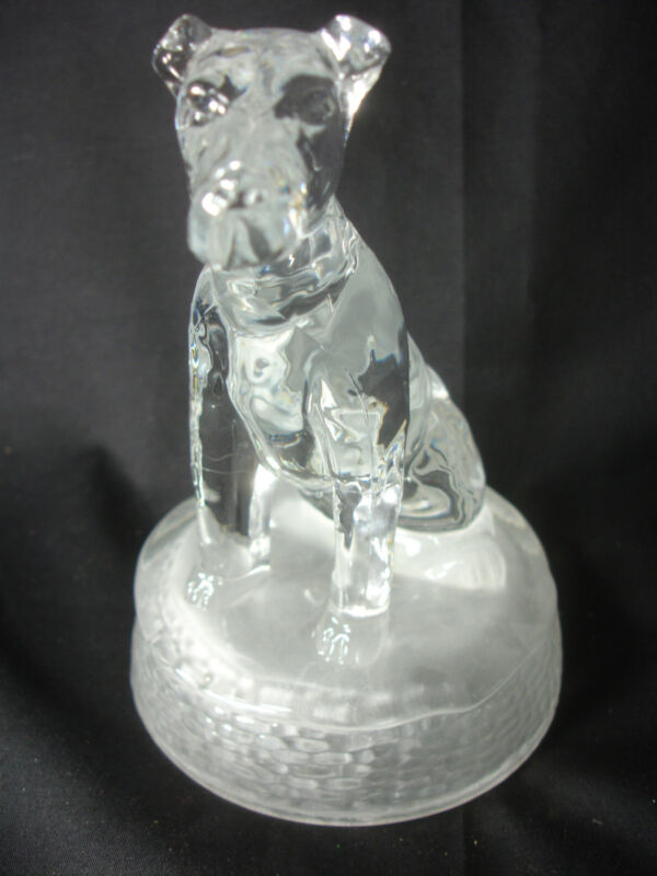 Old Vtg Collectible Clear Glass Dog Figure Figurine Paperweight