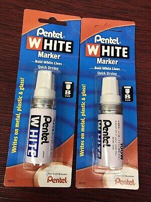 2pk Pentel White Marker 100w Multi-purpose Sealed Package10313