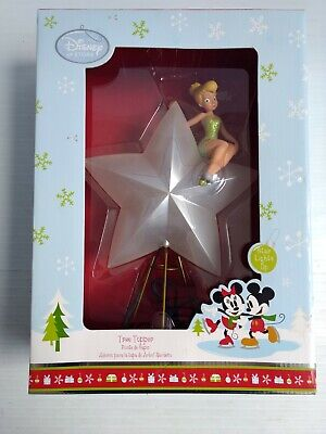 "Disney Tinker Bell Star Christmas Tree Topper Light 11"" Authentic Discontinued"