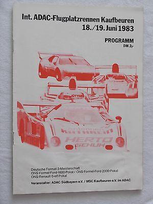 1983 Programm ADAC Flugplatzrennen Kaufbeuren F3 Formel Ford V 2-sitz Rennwagen