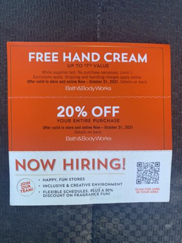 Bath Body Works Coupon 20 Off Purchase Gift For Hand Cream - $4.00