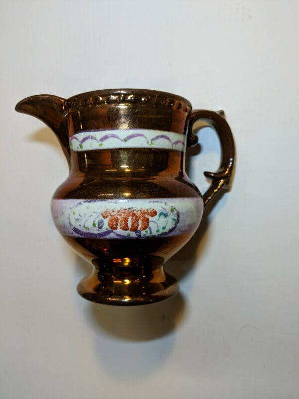 Antique Sunderland English Copper Luster Pitcher circa abt 1817 Made in England