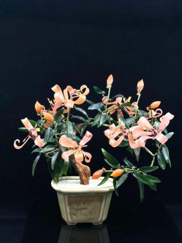 Jade Glass Peach Lilly Bonsai Tree Flowers And Buds Celadon Pot Asian Oriental