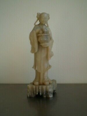 Statue Woman Chinese Sculpture Antique Stone Hard Style Jade Art Asia China