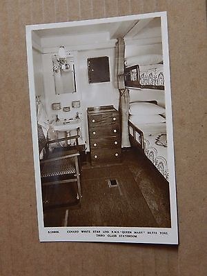Postcard Shipping RMS Queen Mary Third Class Stateroonm Real photo unposted.