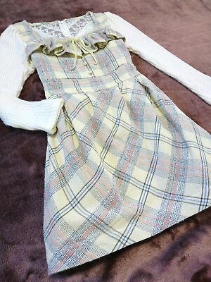 LIZ LISA Tweed&Knitted Dress Japan-M Cream ivory Romantic Hime&Lolita 109Fashion