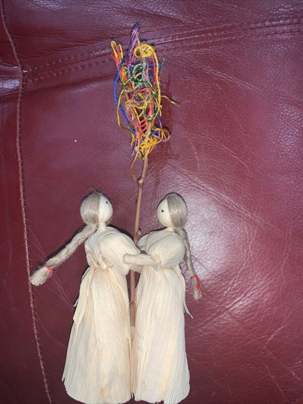 Vintage Corn Husk Doll Of Two Girls Dancing Together with Pole