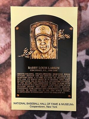 Barry Larkin Postcard- Baseball Hall of Fame Induction Plaque - Photo - Reds Baseball Hall Of Fame Plaque
