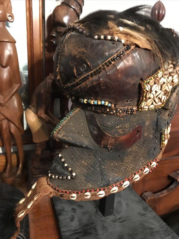 Vintage African Royal Kuba Tribal Helmet Mask,Cowrie Shells,Wood,Congo,Zaire