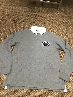 Penn State Nittany Lions Gray Long Sleeve Rugby Polo Shirt Medium Good Condition State Long Sleeve Polo