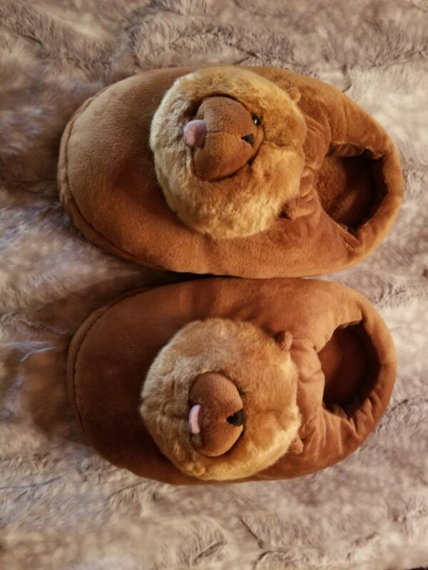 NEW Fluffy Chow Chow Dog Slippers. Red