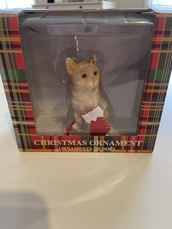 NIB New Sandicast Cat Christmas Ornament American Shorthair Ginger Stocking Xmas