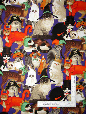 Halloween Kitty Cat Feline Wearing Costumes Cotton Fabric Traditions Purple Yard