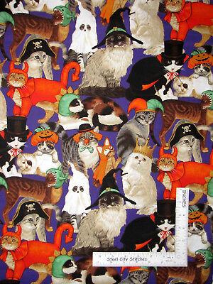 Halloween Kitty Cat Feline Wearing Costumes Cotton Fabric Traditions Purple Yard
