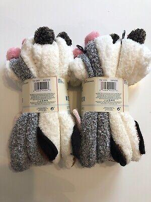 JANE AND BLEECKER Critter Ballerinas Plush Slipper Socks 4x Pairs Size 2-8 BNWT
