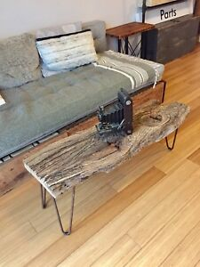 VINTAGE RECLAIMED WOOD COFFEE TABLE OAK DRIFTWOOD w HAIRPIN LEGS
