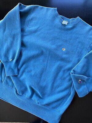 Vintage 90s Champion Reverse Weave Pullover Sweatshirt Sz L Turquoise Sweater
