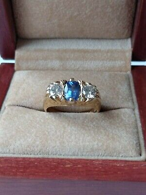 Sapphire and diamond ring.18 Carat Gold,Ladies size N.