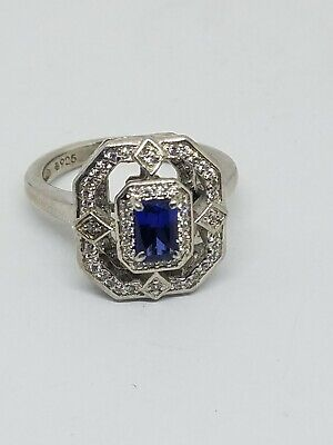 Art Deco Style Sterling Silver CZ Blue Sapphire Glass Ring Size 8.5