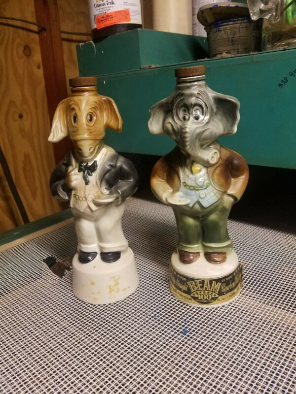 1960 Donkey Democrat & Elephant Republican Political Jim Beam Whiskey Decanters