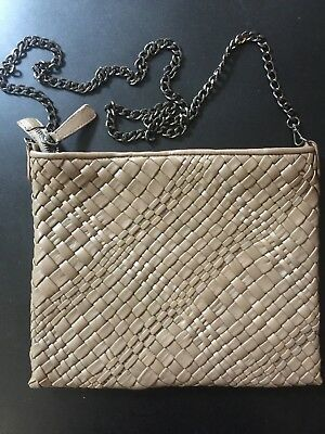Falor Falorni Le Borse Hand Woven Leather Crossbody / Clutch Italy Brown