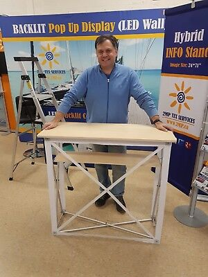 New Trade Show Pop Up Fabric Counter Table Portable Promotion Kiosk Hardware