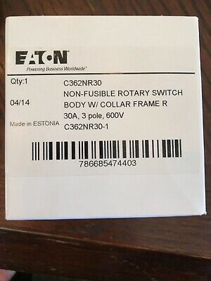 Eaton C362nr30 Disconnect Switch 3p 3ph 30a 600v 25hp New In Box Free Sh