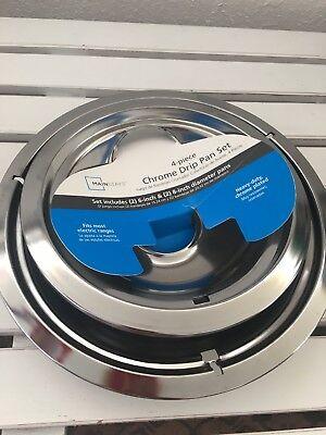 Mainstays 4-piece Heavy Duty Chrome Plated Drip Pan Set, Electric Range, USA Chrome Plated Drip Pan