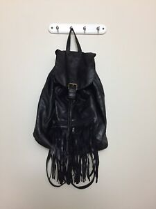 Mini backpack faux leather black