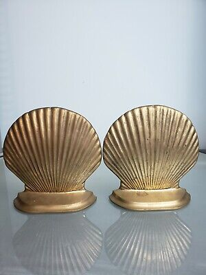 Vintage Solid Brass Bookends SEA SHELL Clam Shell Nautical Beach Decor
