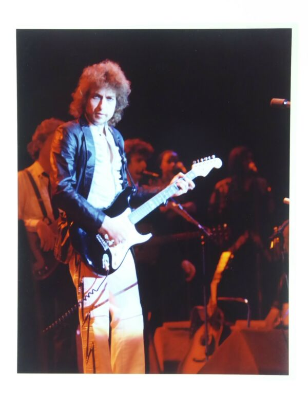 Bob Dylan 8x10 Color Photo Live On Concert Stage with guitar