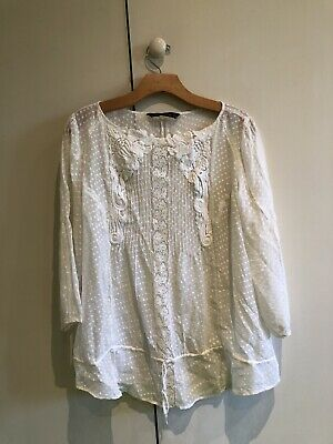 Zara Woman White Blouse, Embroidered, Crochet. Size EUR L