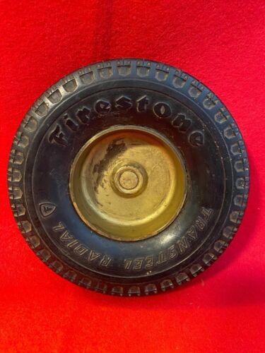 NM2) Vtg Firestone Transteel Radial Tire Ashtray Sign 1943 75MM ECBC 93 Sample