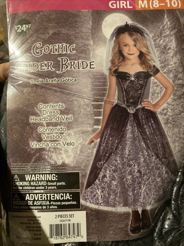 Halloween Costume Girl Gothic Spider Bride  Medium 8-10 New