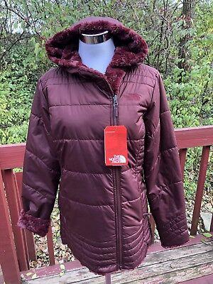 New The North Face Women's Swirl Fur Reversible Coat Size M Red Wine/ Burgundy Fur Reversible Coat