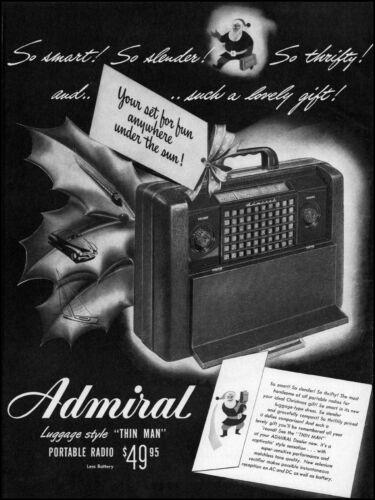 1947 Admiral portable radio Santa Claus Christmas vintage art print Ad adL54