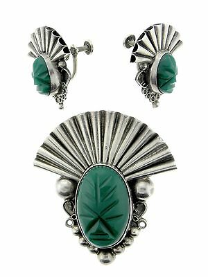 Mexican Sterling Silver Man Made Green Stone Faces Pin and Earrings Set
