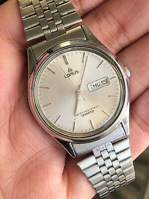 Vintage Lorus By Seiko Stainless Steel Day Date Men Watch WORKING