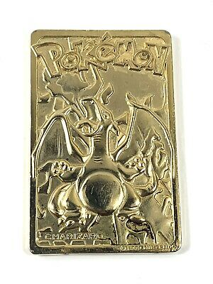 Pokemon 1999 NINTENDO Gold Plated- 23 karat Charizard Card Flame METAL BAR CARD