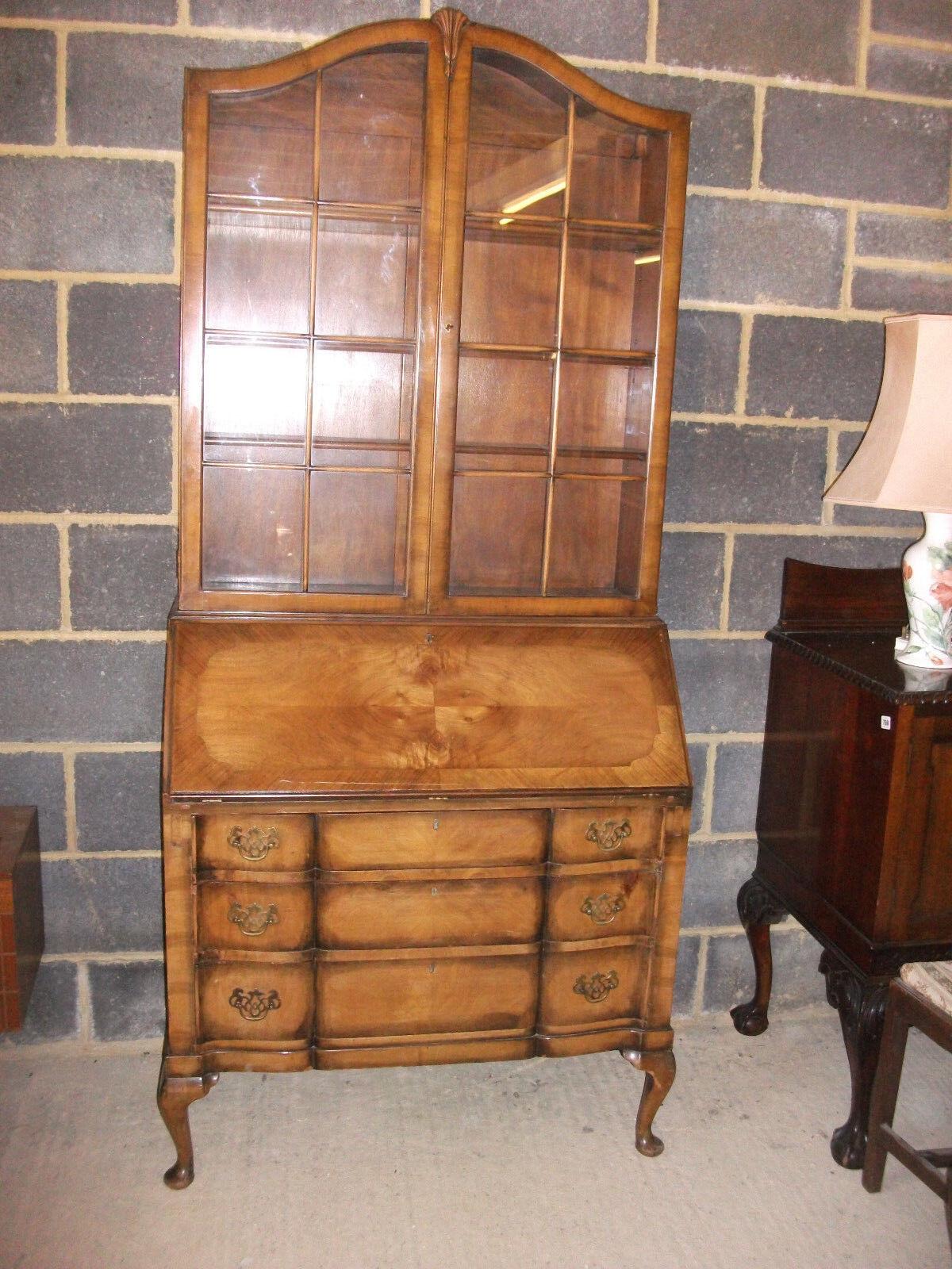 Edwardian Walnut Bureau Bookcase