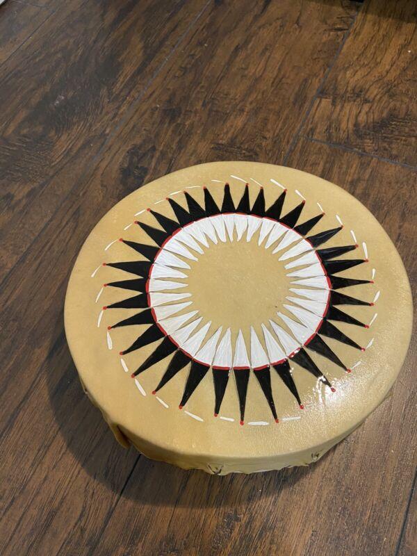 "Native American drum 10"" Hand drum pow wow Warbonnet Design Drum"