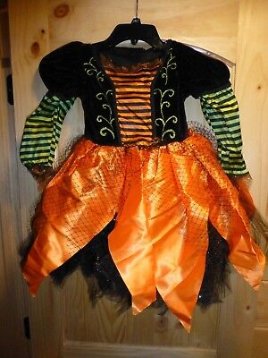 Girls Size 6/8Y Orange Black and Green Witch Costume Dress Up New Halloween - Black And Orange Witch Costume