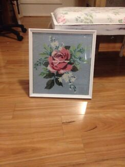Shabby chic framed cross stitch Brighton Holdfast Bay Preview