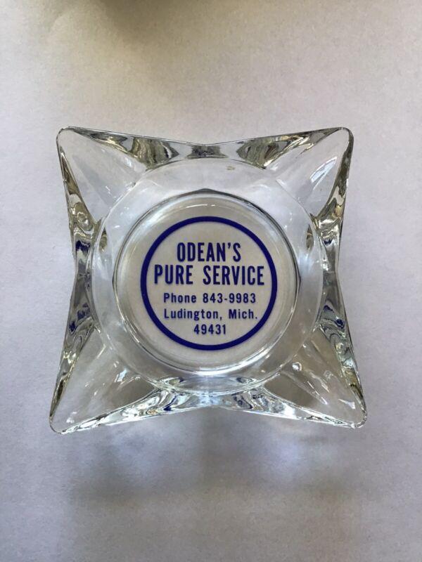 VINTAGE ODEAN'S PURE SERVICE LUDINGTON MI CIGARETTE ASHTRAY GAS STATION